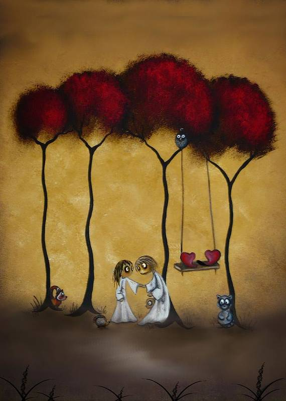 Whimsical Art Poster featuring the painting Two Hearts by Charlene Zatloukal