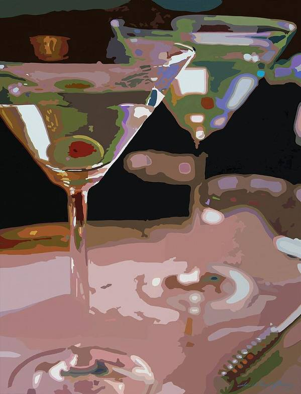 Bars Poster featuring the painting Two Martini Lunch by David Lloyd Glover