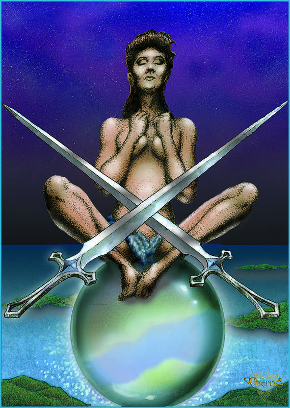 Fine Art Poster featuring the digital art Two Of Swords by Greg Piszko