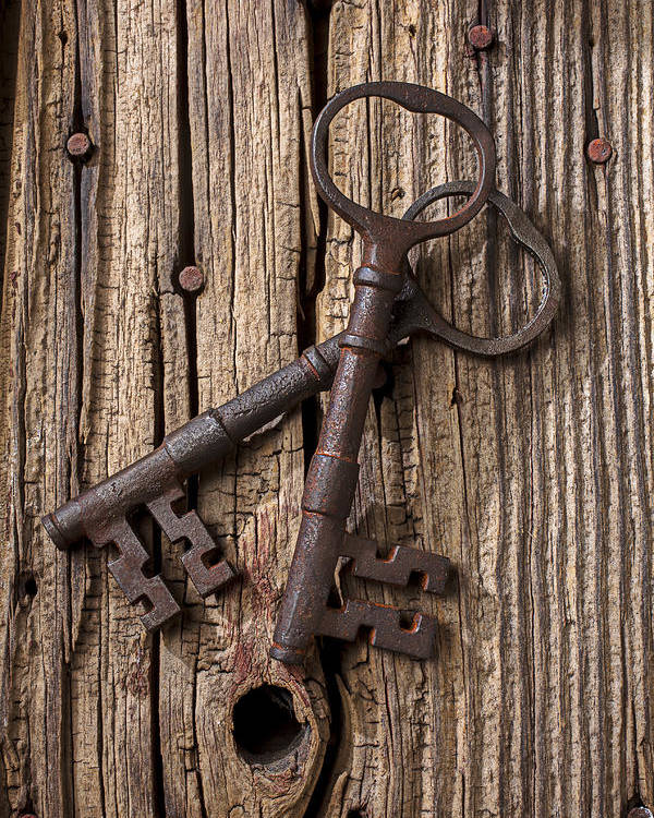 Old Poster featuring the photograph Two Old Skeletons Keys by Garry Gay