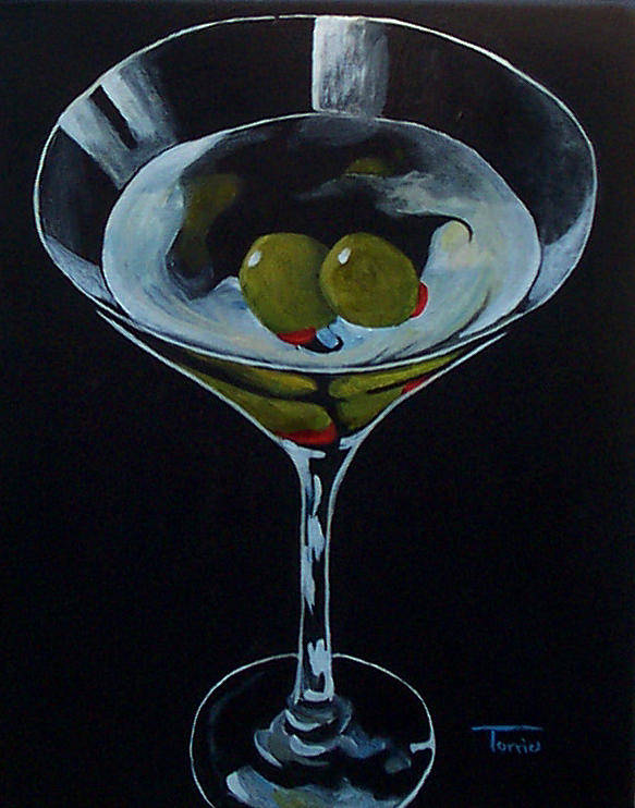 Martini Poster featuring the painting Two Olive Martini by Torrie Smiley