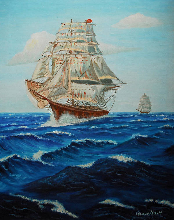 Ship Poster featuring the painting Two Ships Sailing by Quwatha Valentine