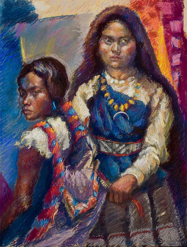 Native American Poster featuring the pastel Two Sisters by Ellen Dreibelbis