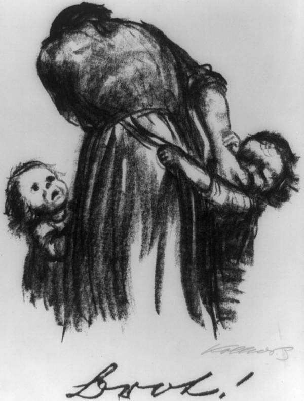 History Poster featuring the photograph Two Small Children Begging Mother by Everett