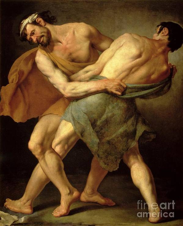 Nude Poster featuring the painting Two Wrestlers by Cesare Francazano