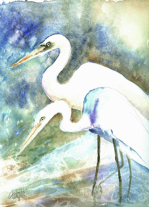 Crane Poster featuring the painting Twosome by Arline Wagner