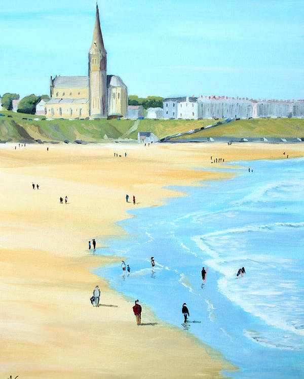 Seascape. Beach. Church. England. Uk Poster featuring the painting Tynemouth Beach by John Cox