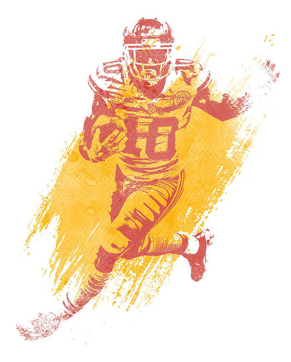 Tyreek Hill Poster featuring the mixed media Tyreek Hill Kansas City Chiefs Water Color Art 2 by Joe Hamilton