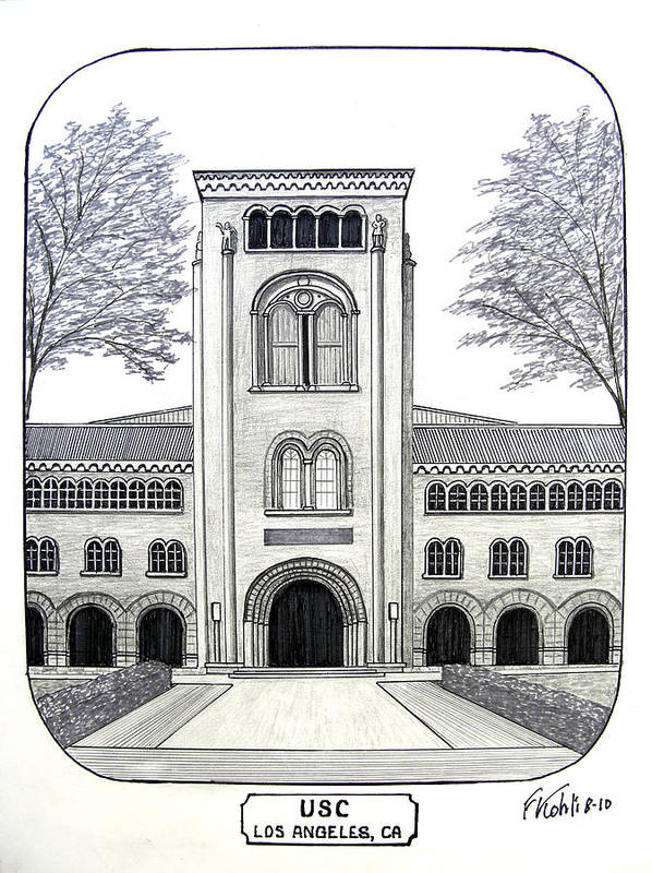 Pen And Ink College Buildings Drawings Poster featuring the drawing U S C by Frederic Kohli
