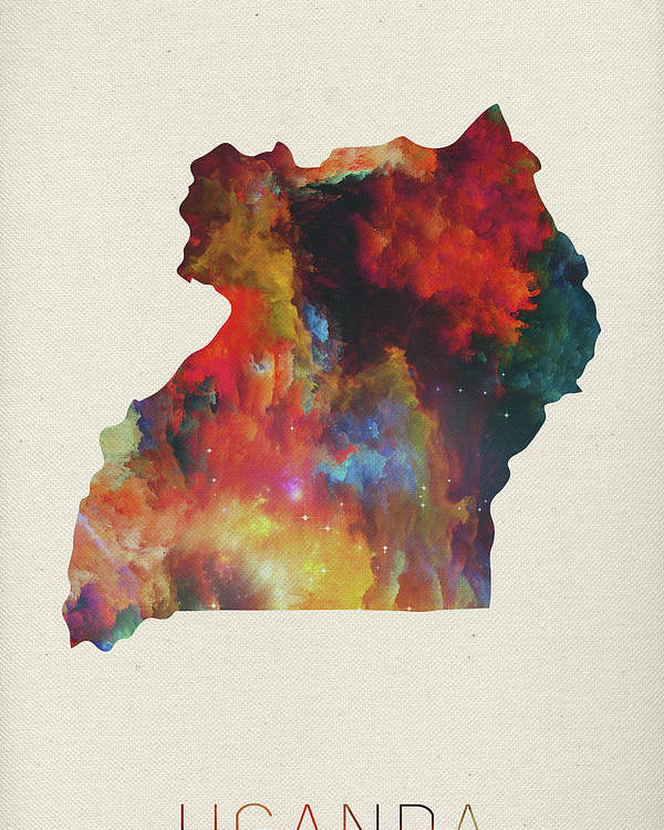 Uganda Poster featuring the mixed media Uganda Watercolor Map by Design Turnpike