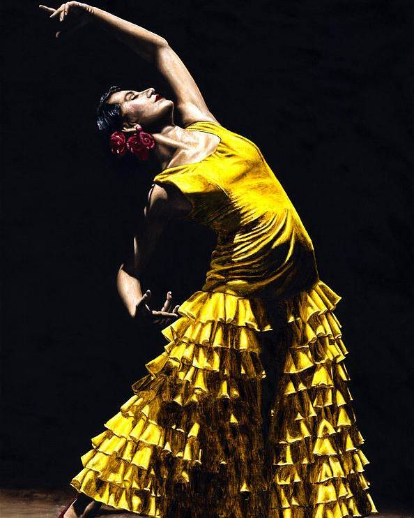 Flamenco Poster featuring the painting Un Momento Intenso Del Flamenco by Richard Young