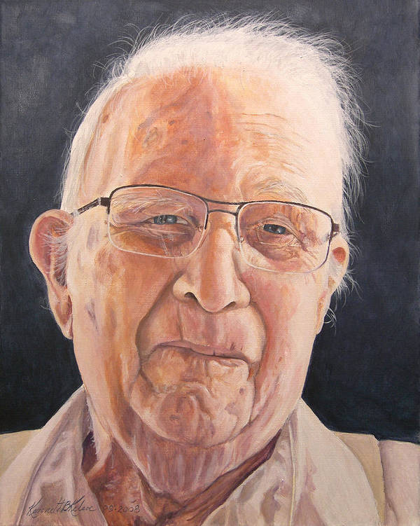 Portrait Poster featuring the painting Uncle Denman by Kenneth Kelsoe