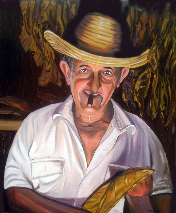 Cuban Art Poster featuring the painting Uncle Frank by Jose Manuel Abraham