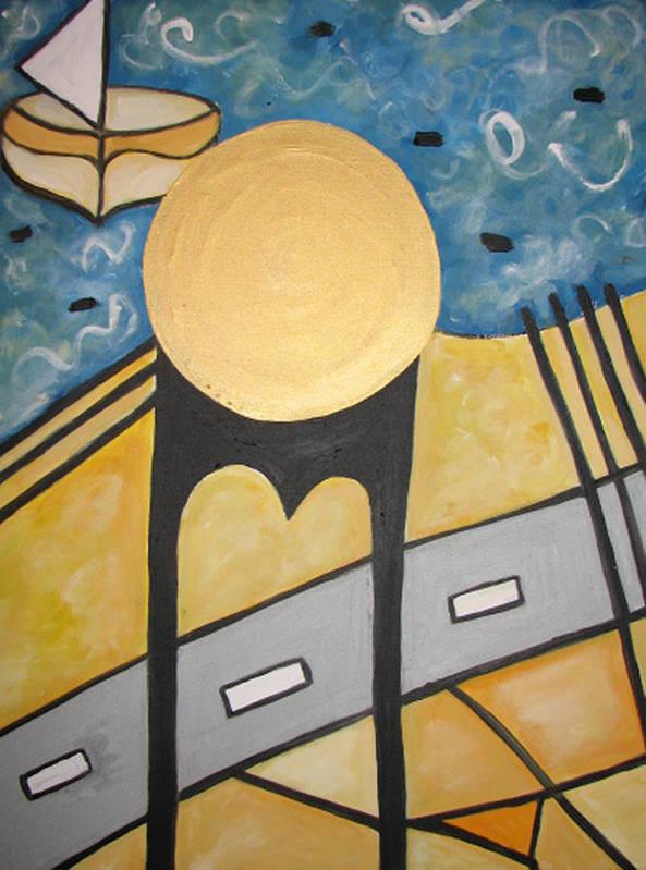 New York Poster featuring the painting Under Brooklyn Bridge Ny by Krisztina Asztalos