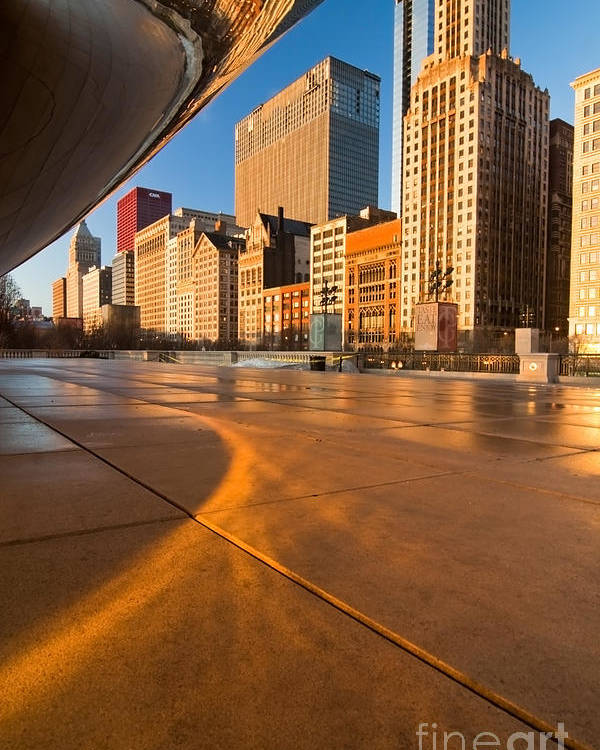 Chicago Poster featuring the photograph Under The Bean And Chicago Skyline At Sunrise by Sven Brogren