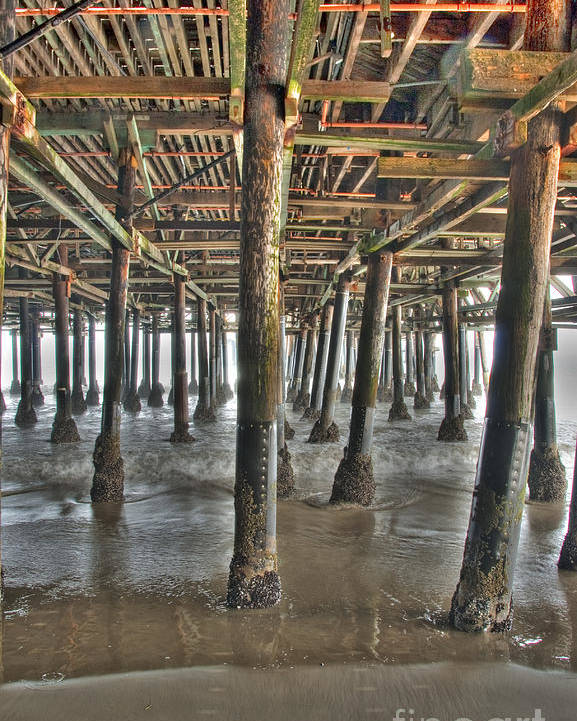 Under The Boardwalk Poster featuring the photograph Under The Boardwalk Pier Sunbeams by David Zanzinger