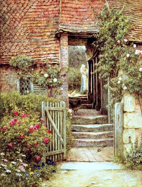 Cottage Poster featuring the painting Under The Old Malthouse Hambledon Surrey by Helen Allingham