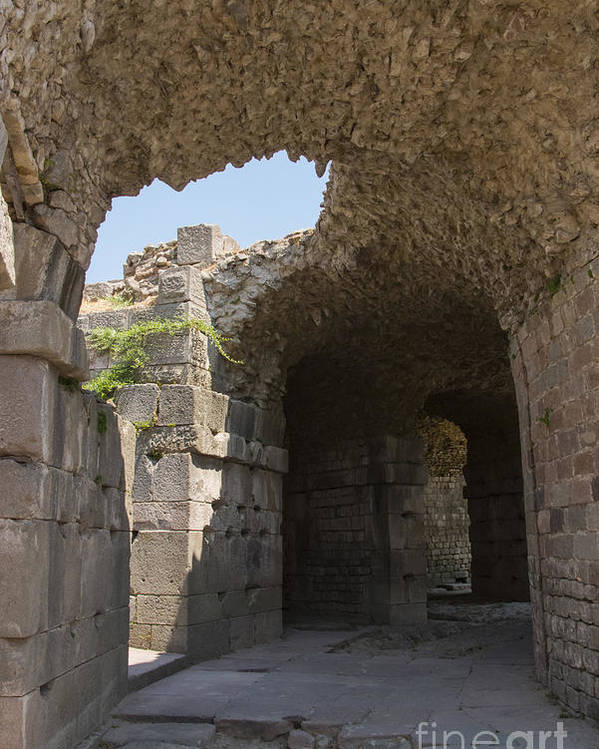 Bergama Pergamon Turkey Asklepion Ruins Temples Ruin Stone Stones Architecture Structures Structures Passageway Passageway Poster featuring the photograph Underground Passageway by Bob Phillips