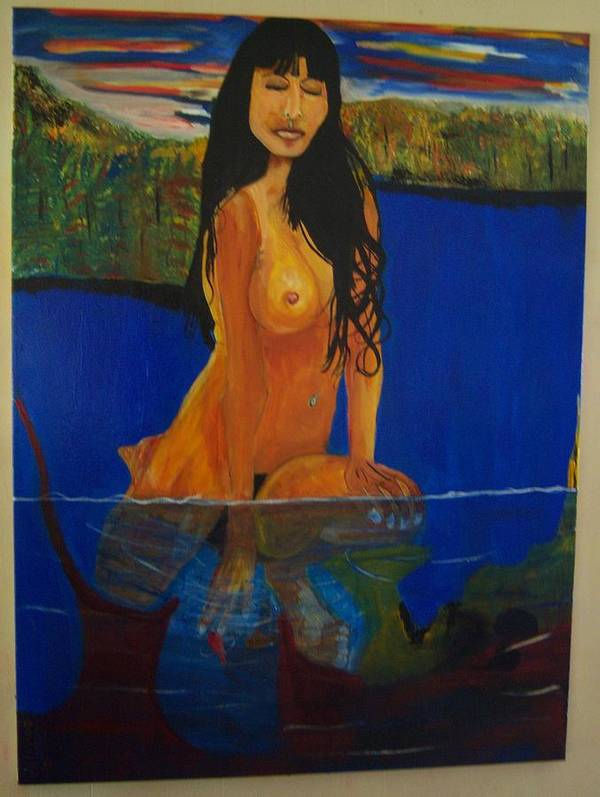 Nude Poster featuring the painting Underwater Woman by Dominic Angarano