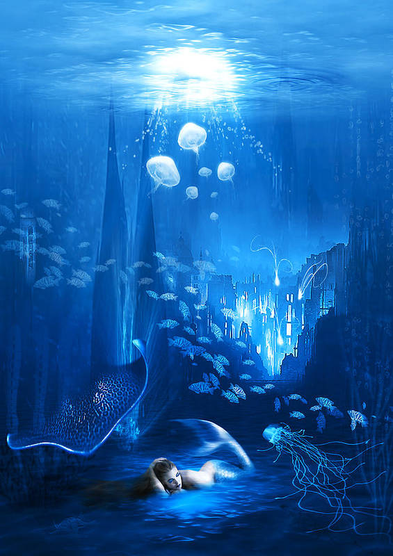 Abstract Poster featuring the digital art Underwater World by Svetlana Sewell