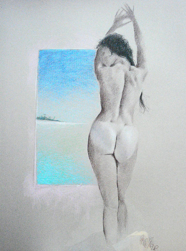 Nude Poster featuring the drawing Undtitled by Paul Miller