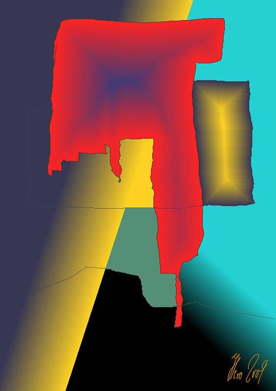 Red Poster featuring the digital art Unexpected- Red by Helmut Rottler