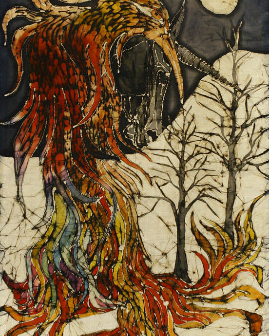 Phoenix Poster featuring the tapestry - textile Unicorn And Phoenix by Carol Law Conklin