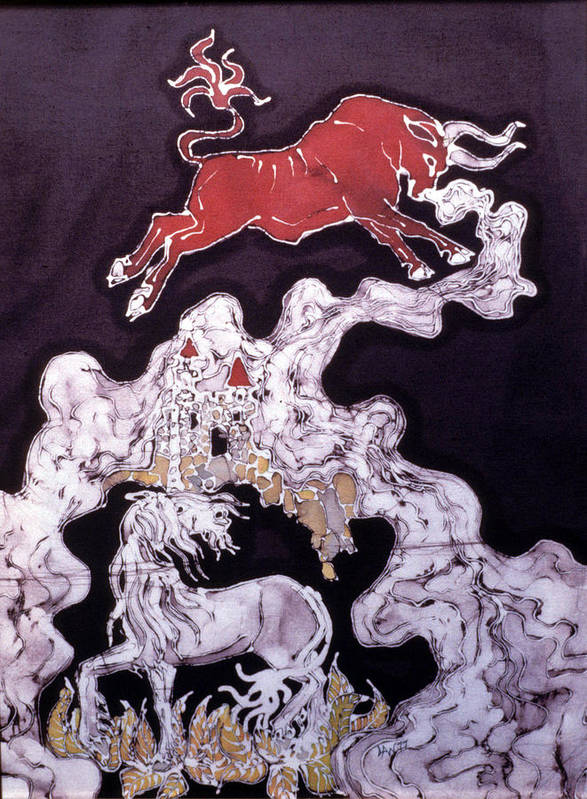 Unicorn Poster featuring the tapestry - textile Unicorn And Red Bull by Carol Law Conklin