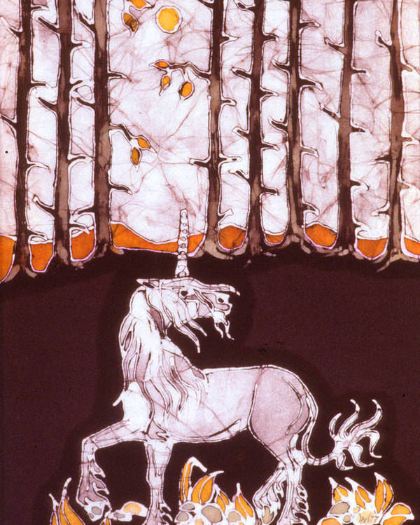 Unicorn Poster featuring the tapestry - textile Unicorn Below Trees In Autumn by Carol Law Conklin