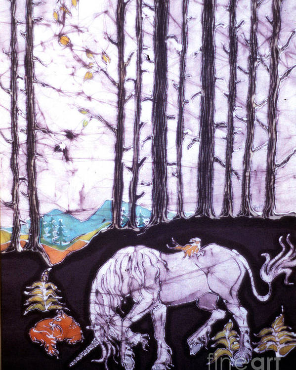 Unicorn Poster featuring the tapestry - textile Unicorn Rests In The Forest With Fox And Bird by Carol Law Conklin