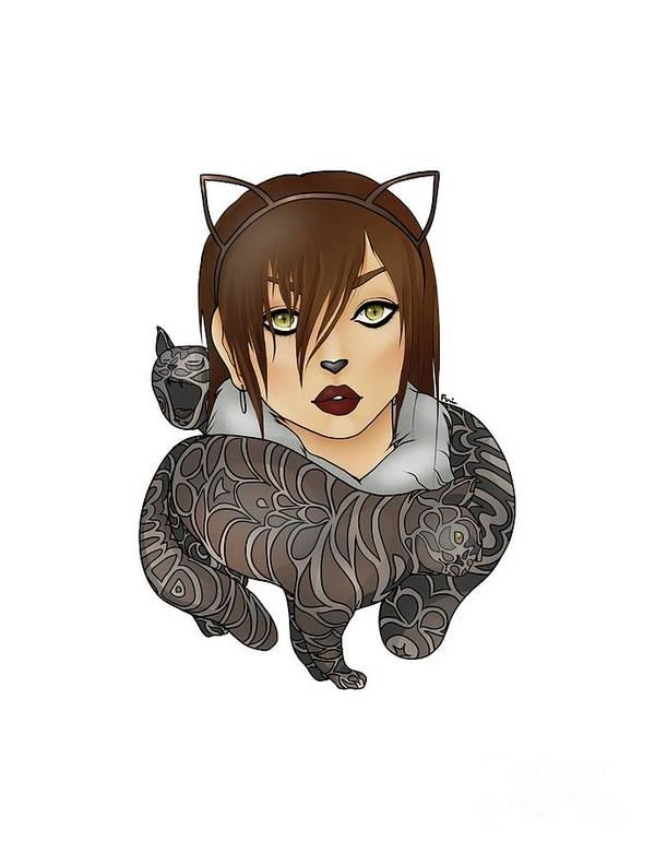 Cat Poster featuring the digital art Unique Female Cats by Francoise Dik