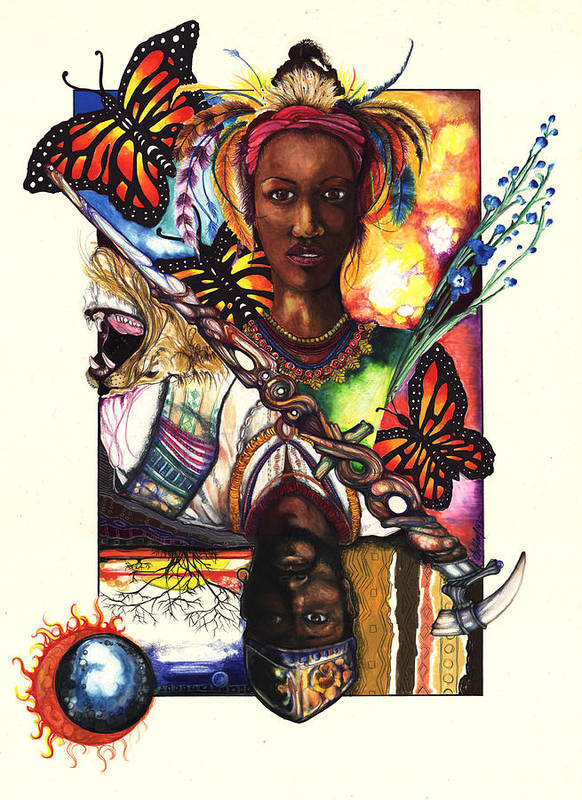 King Poster featuring the drawing United by Anthony Burks Sr