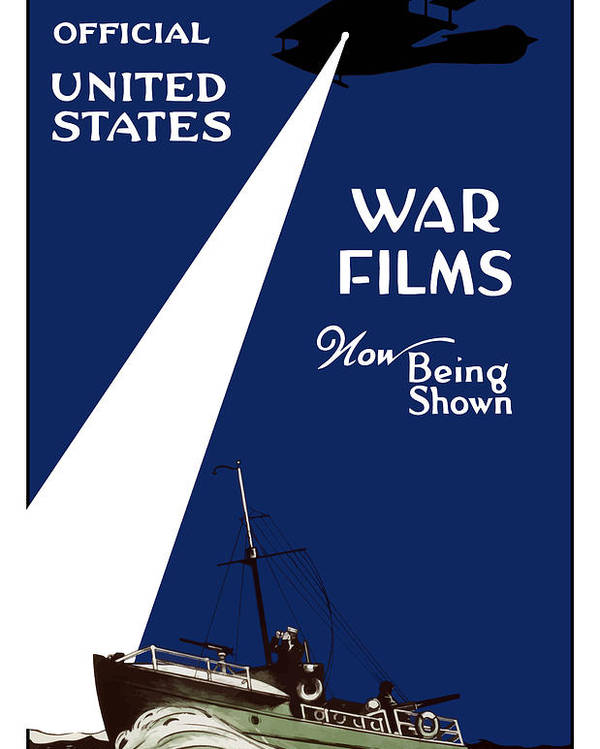 War Films Poster featuring the painting United States War Films Now Being Shown by War Is Hell Store