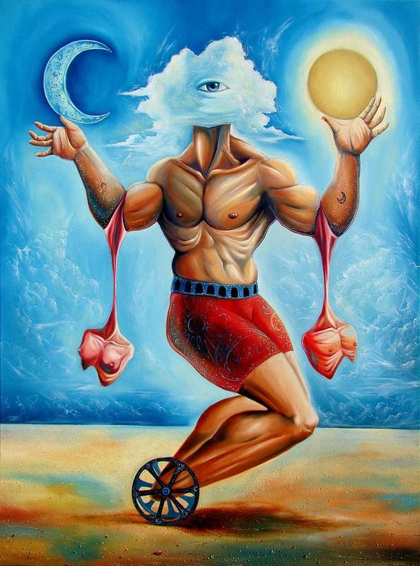 Surrealism Poster featuring the painting Universal Acrobat by Darwin Leon