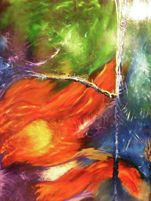 Abstract Poster featuring the painting Universe by Kim Rahal