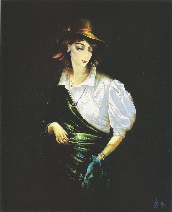 Figures Poster featuring the painting Unknown Woman by Andrej Vystropov