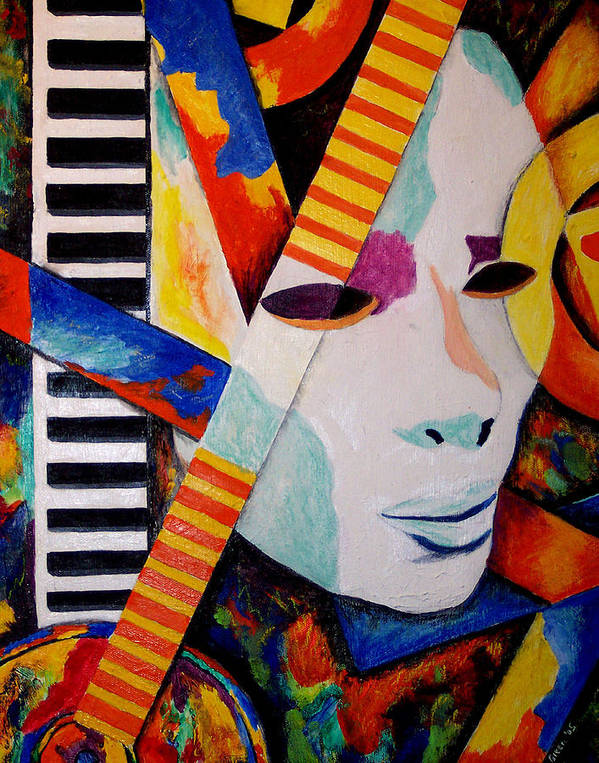 Keyboard Poster featuring the mixed media Unmasking The Sound by Angela Green