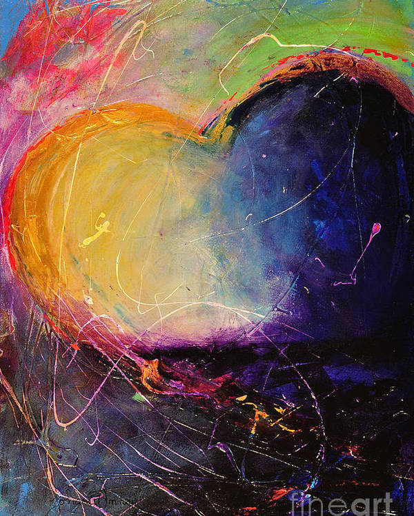 Heart Poster featuring the painting Unrestricted Heart Sunset Colors by Johane Amirault