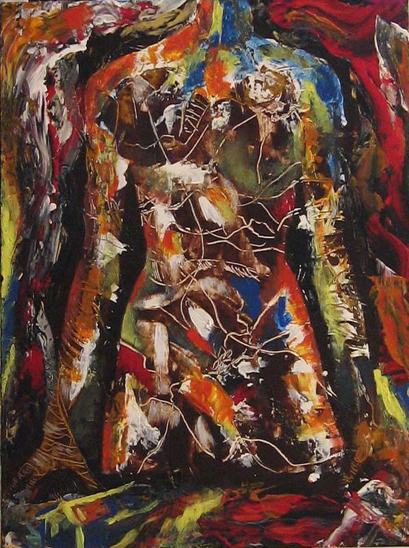 Portarit Poster featuring the painting Untitled 77 by Vladimir Kezerashvili