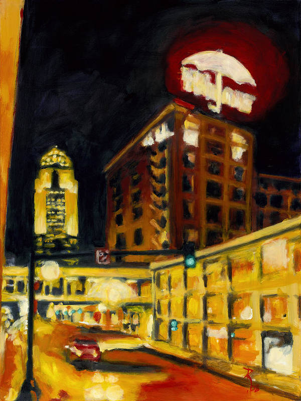 Rob Reeves Poster featuring the painting Untitled In Red And Gold by Robert Reeves