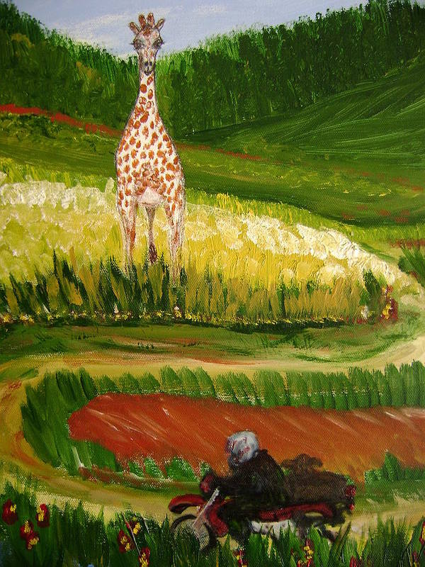 Giraffe Poster featuring the painting Up Around The Bend by Laura Johnson