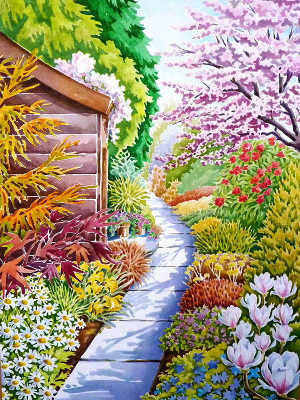 Path Shed Spring Blossom Magnolia Daisies Tree Shadow Daffodils Fir Tree Pine Tree Wood Acer Poster featuring the painting Up The Garden Path by Debbie Diamond