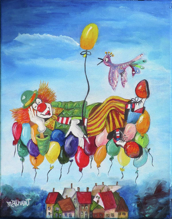 Clown Poster featuring the painting Up, Up and Away by Mikki Alhart