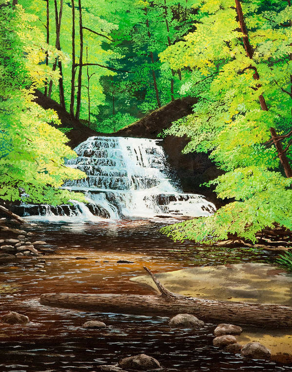 Water Poster featuring the painting Upper Falls At Salt Springs by Mark Regni