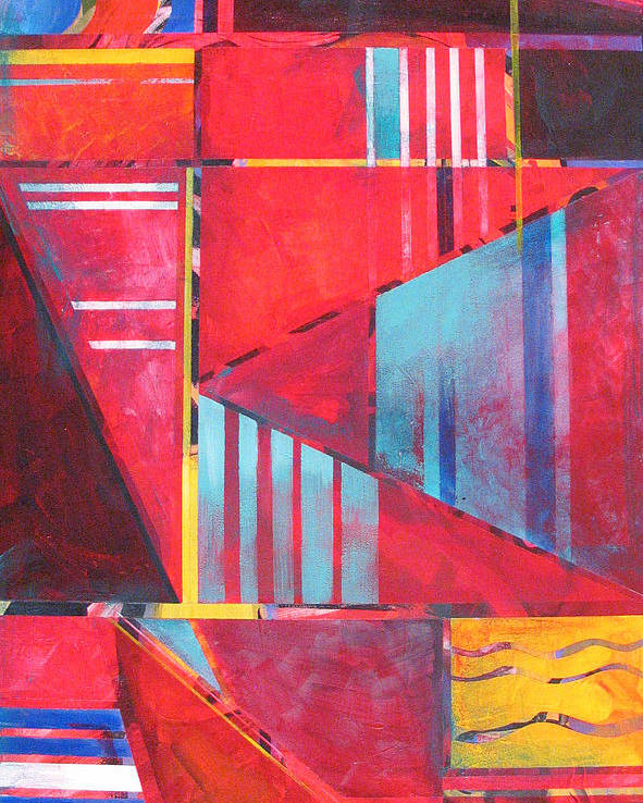 Geometric Poster featuring the painting Urban Red by Rollin Kocsis
