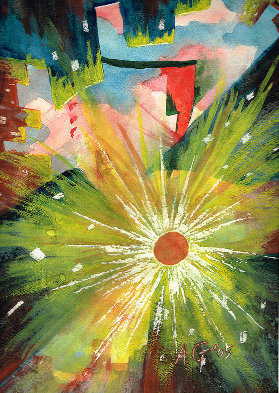 Downtown Poster featuring the painting Urban Sunburst by Andrew Gillette