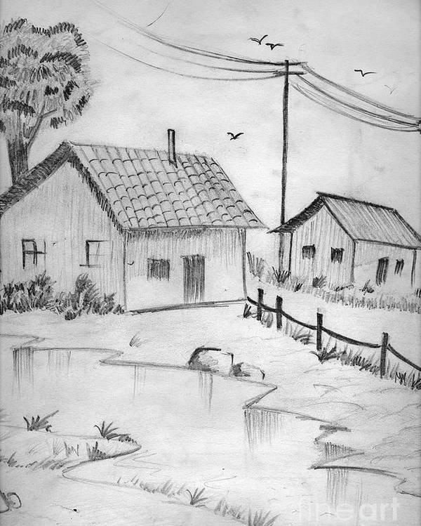 Pencil Drawing Poster featuring the painting Urbanisation Of Villages - Gaon Chale Shahr Ki Oar by Tanmay Singh