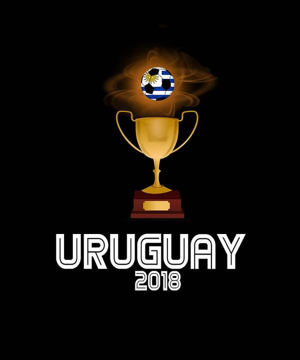 Africa Poster featuring the digital art Uruguay 2018 Soccer Tournament Trophy Russia by Sourcing Graphic Design