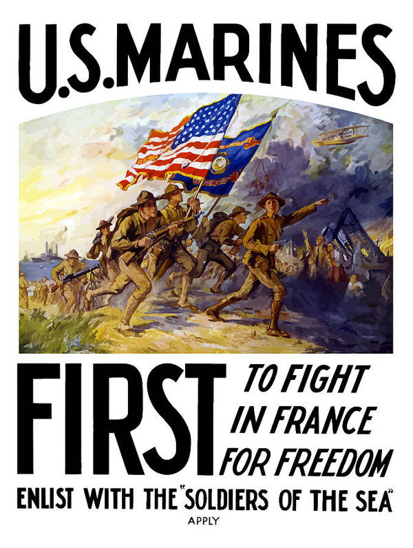 Marines Poster featuring the painting Us Marines - First To Fight In France by War Is Hell Store