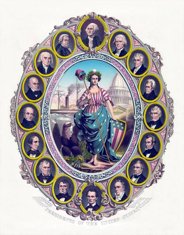 Presidents Poster featuring the drawing Us Presidents And Lady Liberty by War Is Hell Store